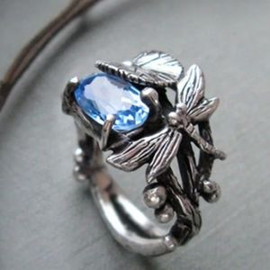 2 CT Oval Blue Aquamarine Dragonfly Silver Ring